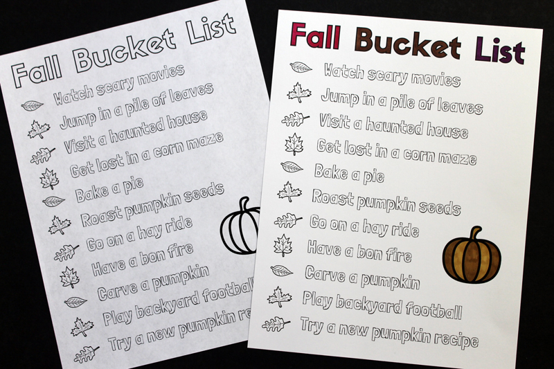 printable list of things to do in the fall
