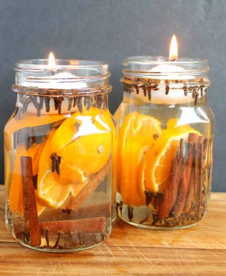 tea lights in glass jar candles with orange and cinnamon