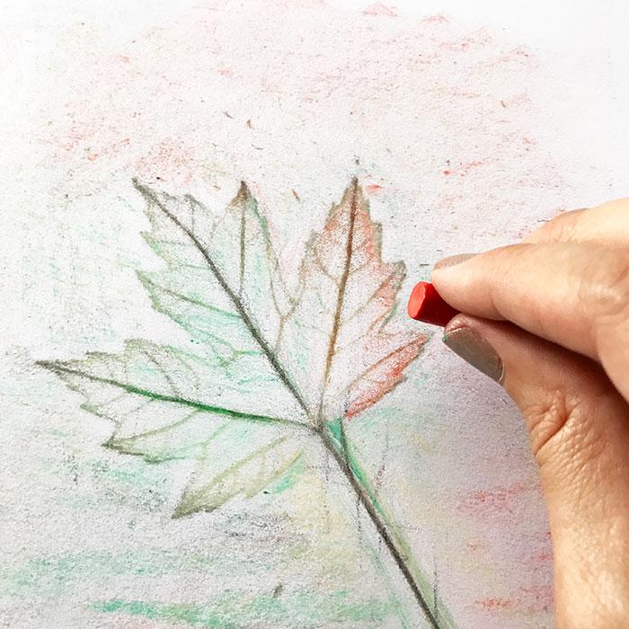 making leaf rubbing art