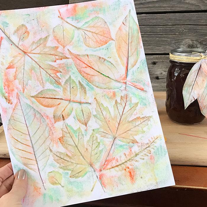 DIY fall leaf rubbing art