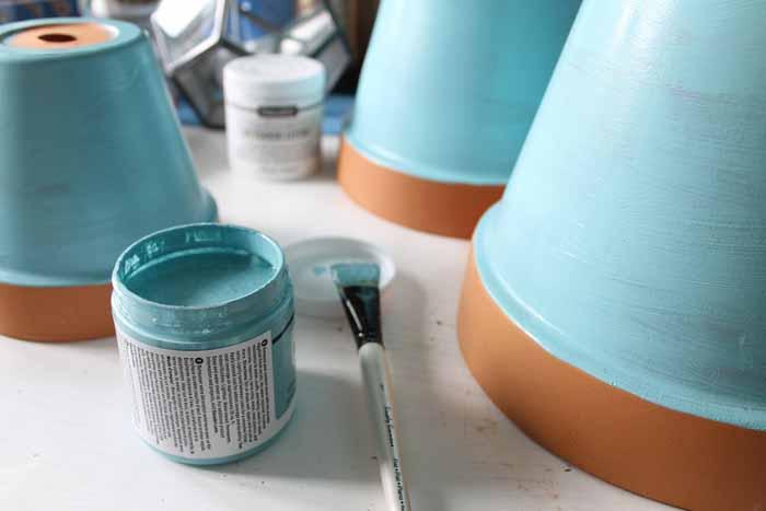 terra cotta pots painted blue