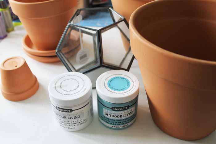 Paint, glass dome, and terra cotta pots