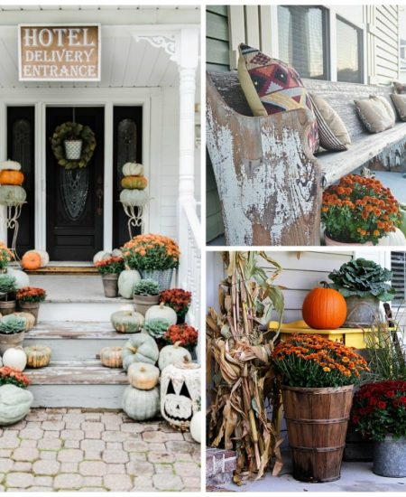 collage of outdoor fall porches and decorations