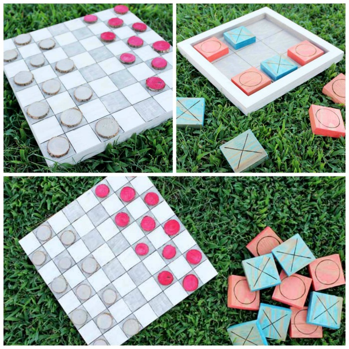 Close up of outdoor checkers and tic tac toe on grass backdrop