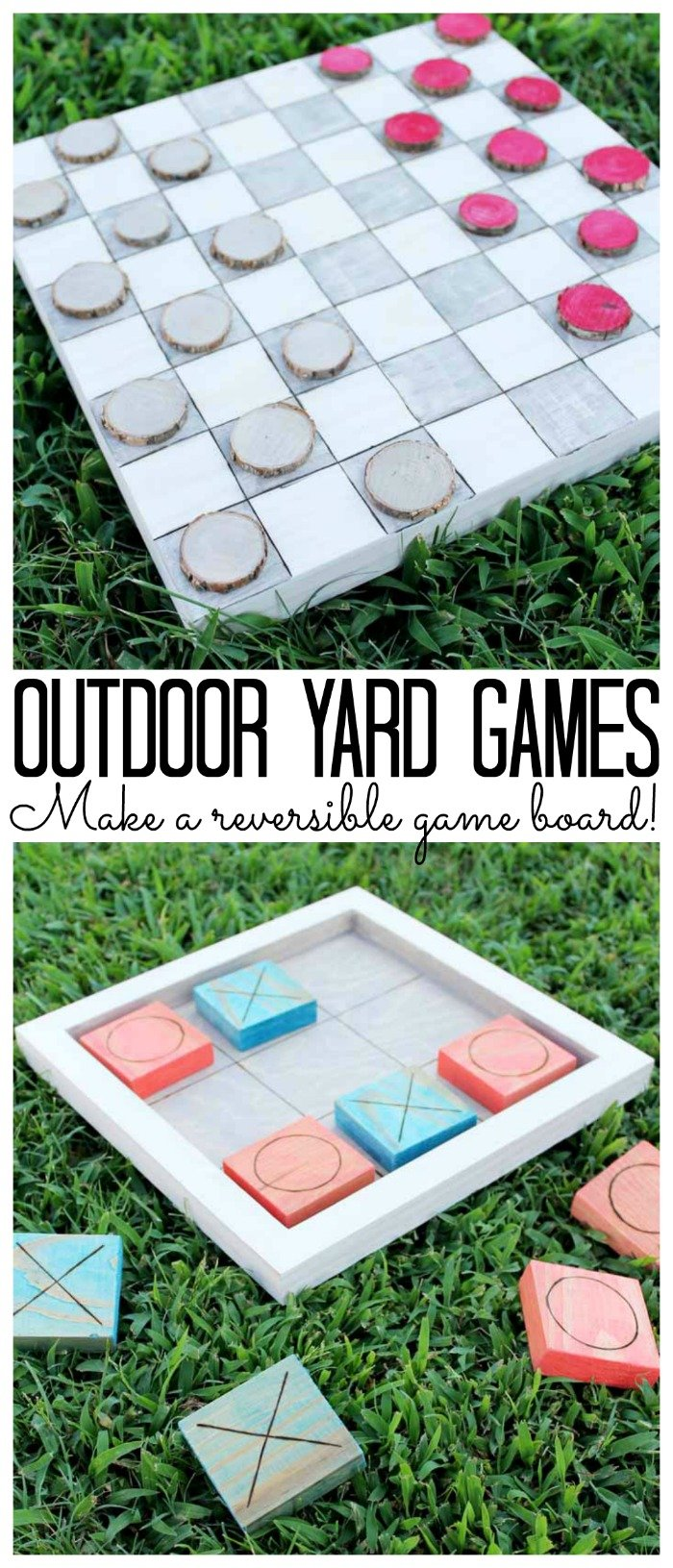 Outdoor yard games: Make a reversible game board for checkers and tic tac toe on the grass!