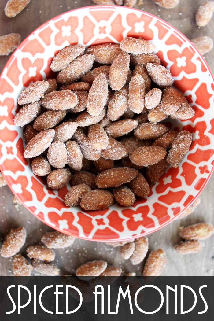 These spiced almonds are perfect for fall! The addition of pumpkin pie spice is simply delicious!