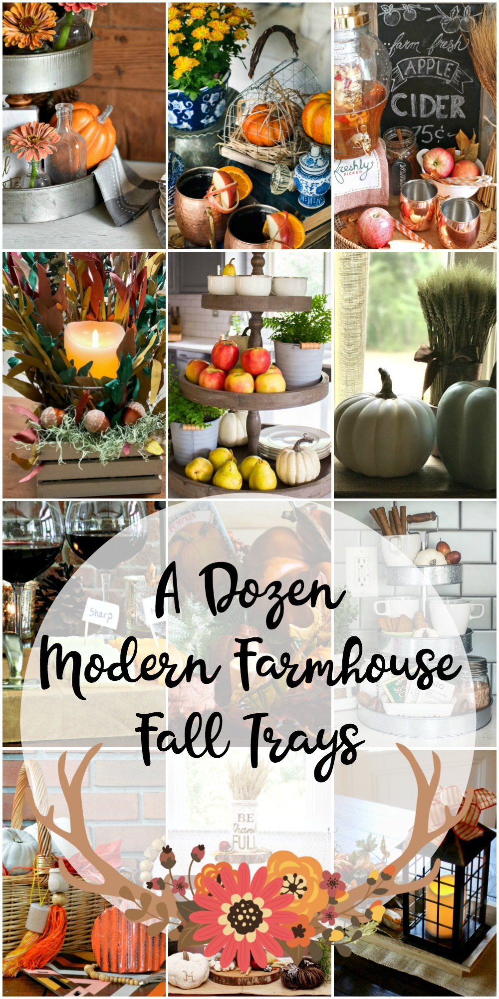 collage of farmhouse fall trays