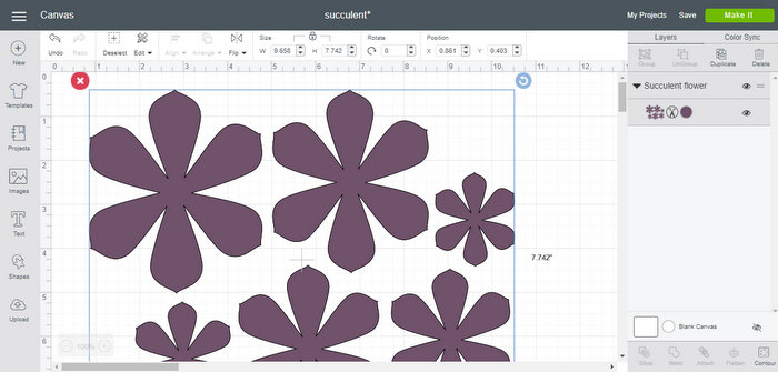Cricut template pieces for flower on Create Space