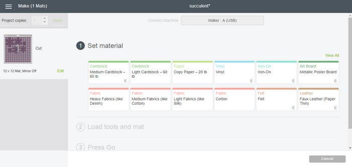 Cricut Createspace Dashboard