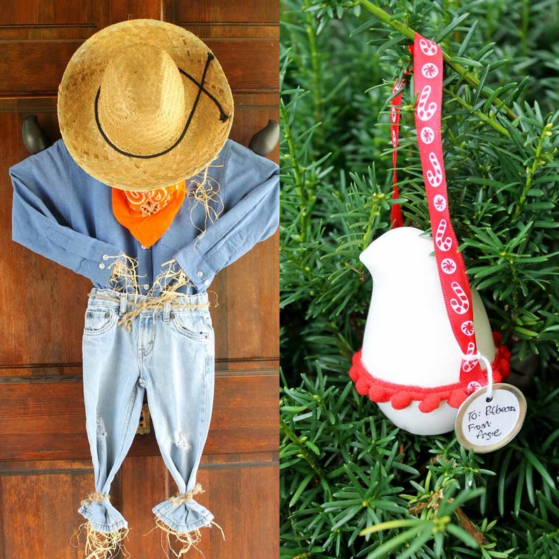 Scarecrow wreath and a recycled Christmas ornament! Both with the OLIKA Birdie!