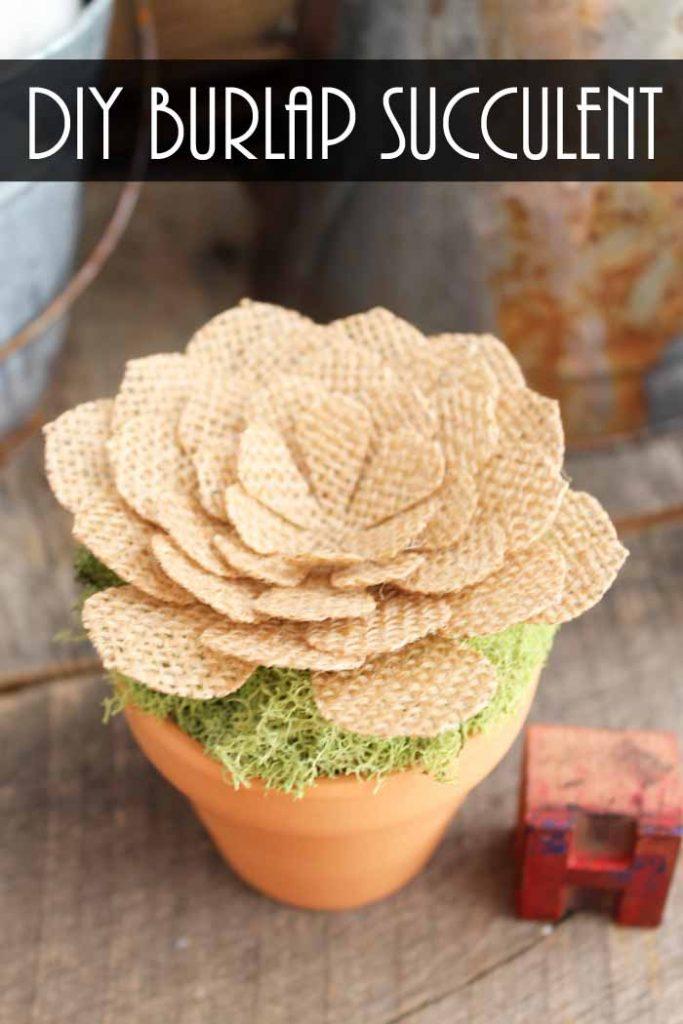 A close up of a burlap flower pot with moss