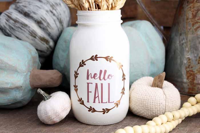 white hello fall mason jar