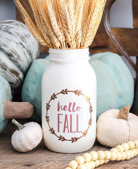 hello fall mason jar