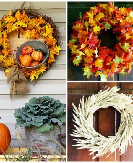 collage of fall wreath pictures