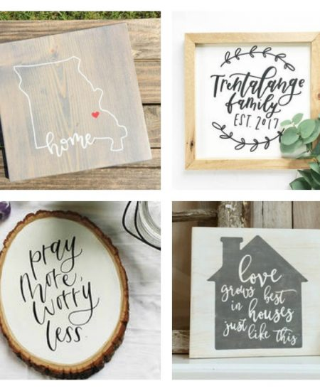 collage of farmhouse lettered signs that look hand lettered