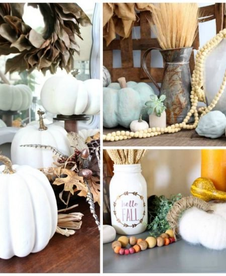 pictures of painted pumpkins in a collage for fall crafts