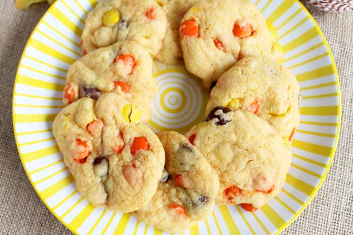 These Reeses Pieces cookies are simple 4 ingredient cookies that are a perfect snack for anytime!