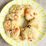 Make these Reese's pieces cookies and give a gift in a jar! A two ingredient cookie mix idea!