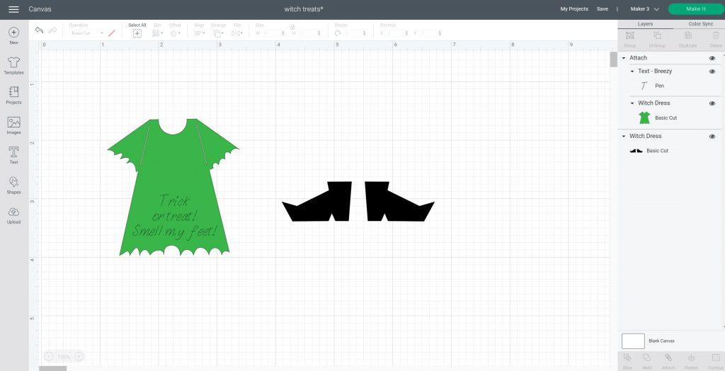 witch dress in cricut design space