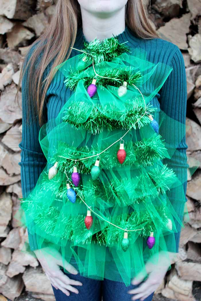 A great Christmas tree ugly sweater including lights!