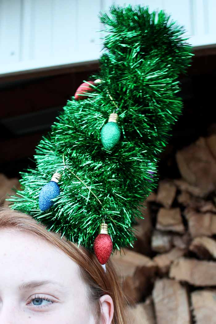 christmas tree headband made with a cone