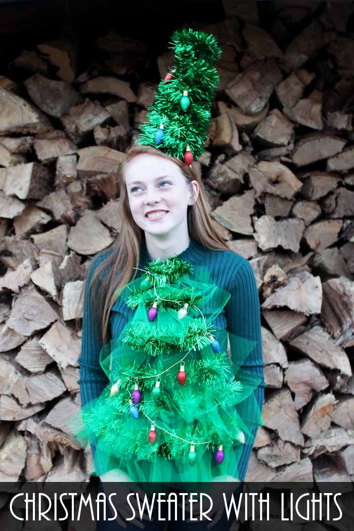 This Christmas sweater with lights is perfect for your Ugly Christmas Sweater Party! Make it yourself!