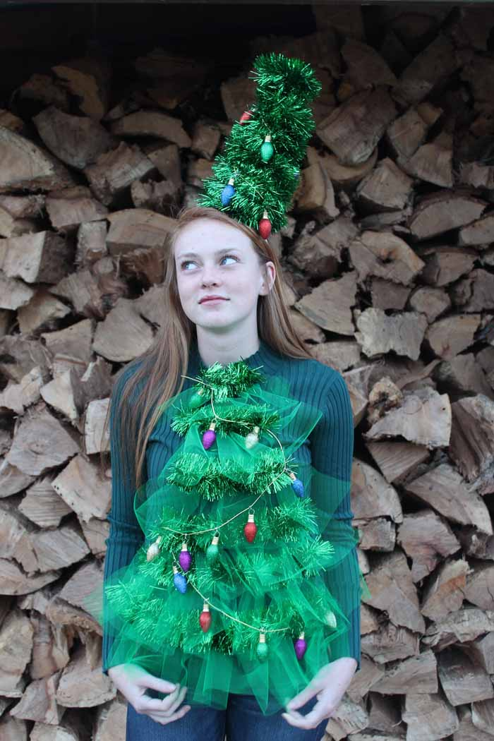 DIY Christmas sweater with lights tutorial