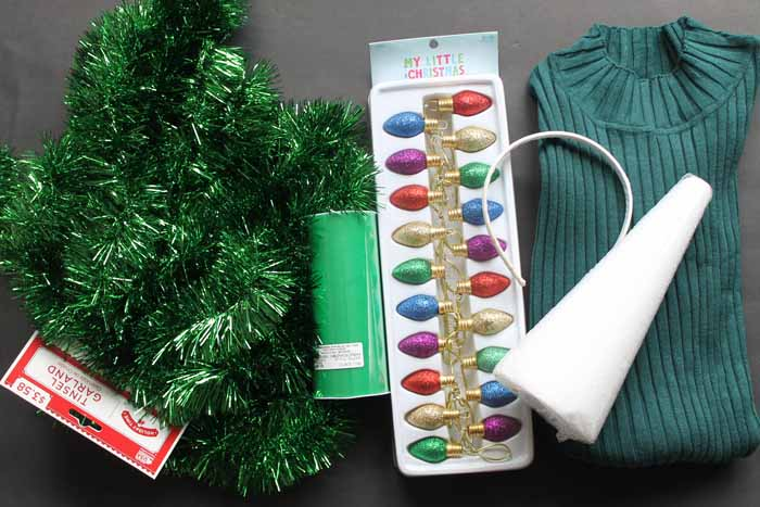 Supplies needed to make a DIY Christmas sweater with lights!