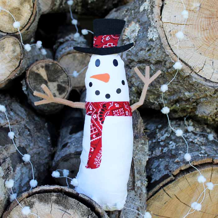 cricut snowman craft for winter in front of logs