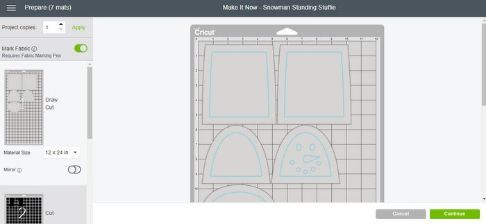 picture of shapes for making a standing snowman with your Cricut