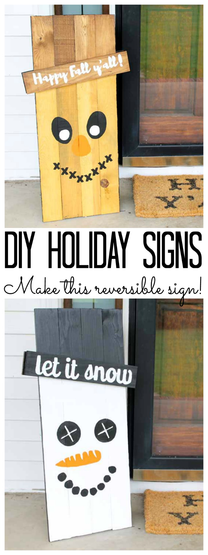 Holiday Signs Reversible Scarecrow And Snowman The Country Chic