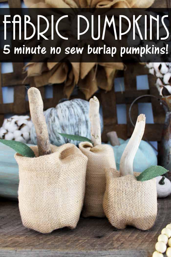 fabric pumpkins made from burlap