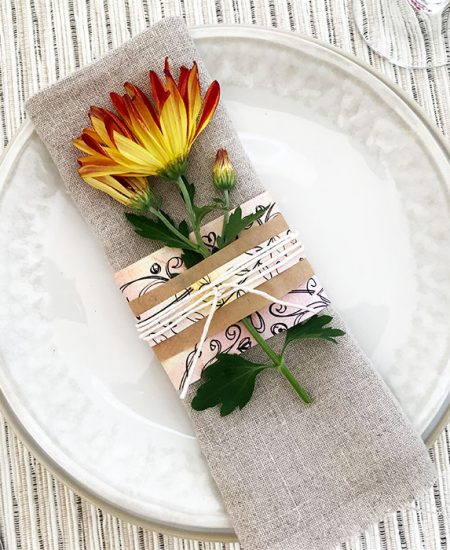 flower and paper napkin rings