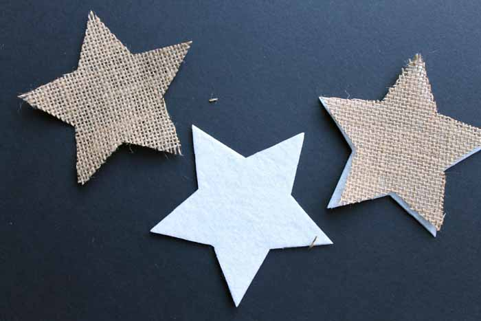 A burlap star for the top of a farmhouse style Christmas tree.