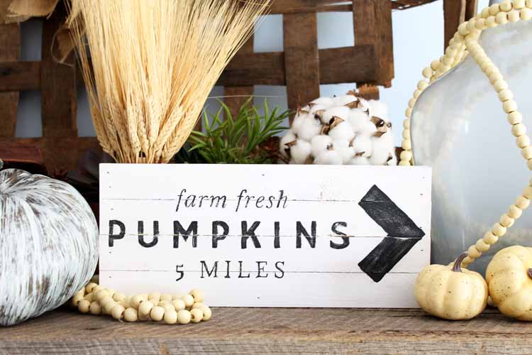 Make this pumpkin patch sign for your farmhouse fall decor! So easy to make with a free printable template!