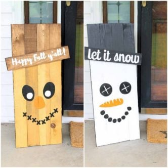 Holiday Signs:  Reversible Scarecrow and Snowman