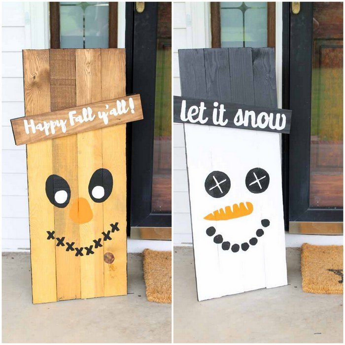 Make these reversible holiday signs for your porch! Free templates to make this scarecrow and snowman sign for your home!