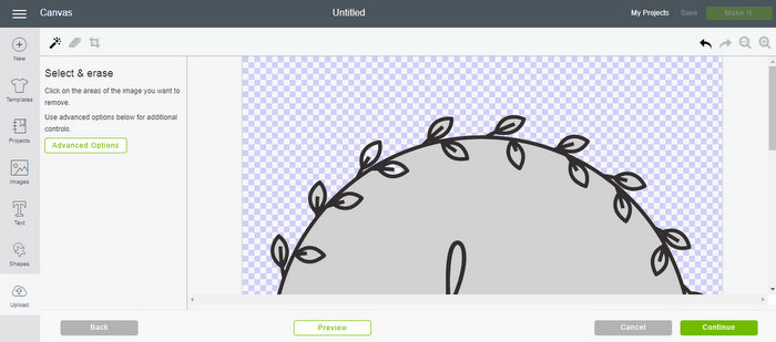 erasing inside of leaves in a wreath graphic