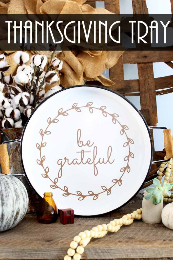 Pinterest graphic of white plate with be grateful text