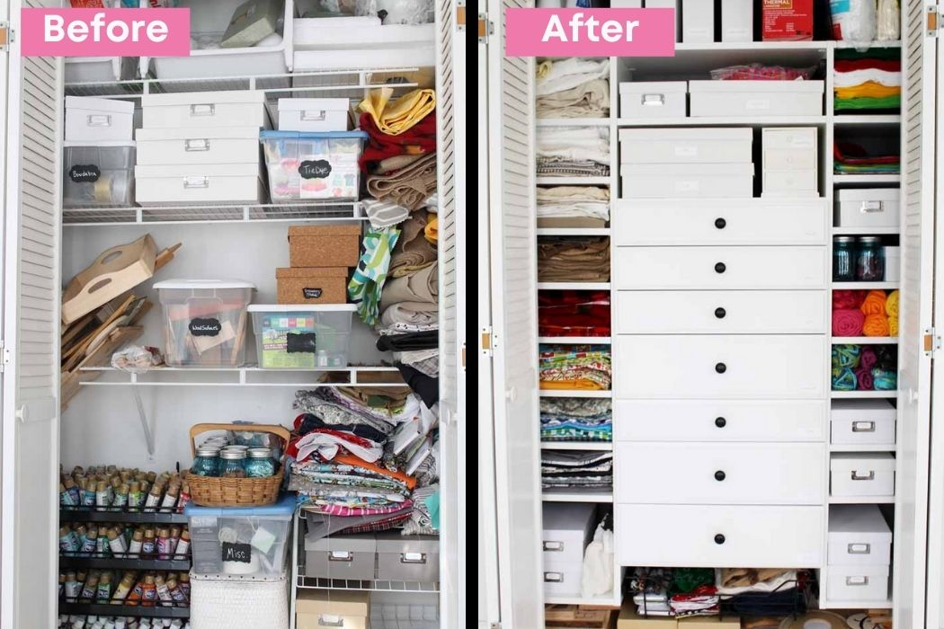 before and after shots of craft closet