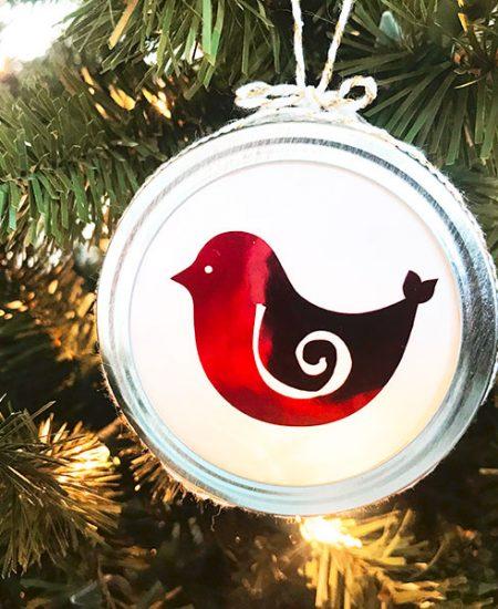 mason jar christmas bird ornament