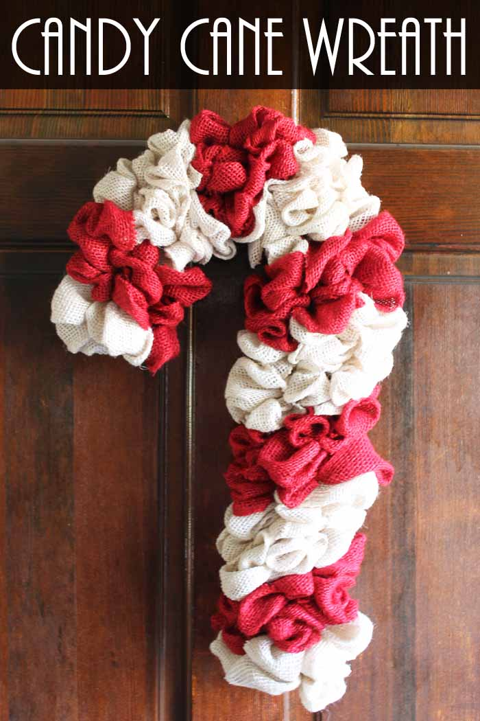 Candy Cane Wreath Make Your Own From Burlap The Country Chic Cottage