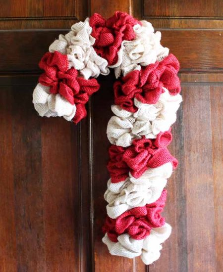 burlap candy cane on a door