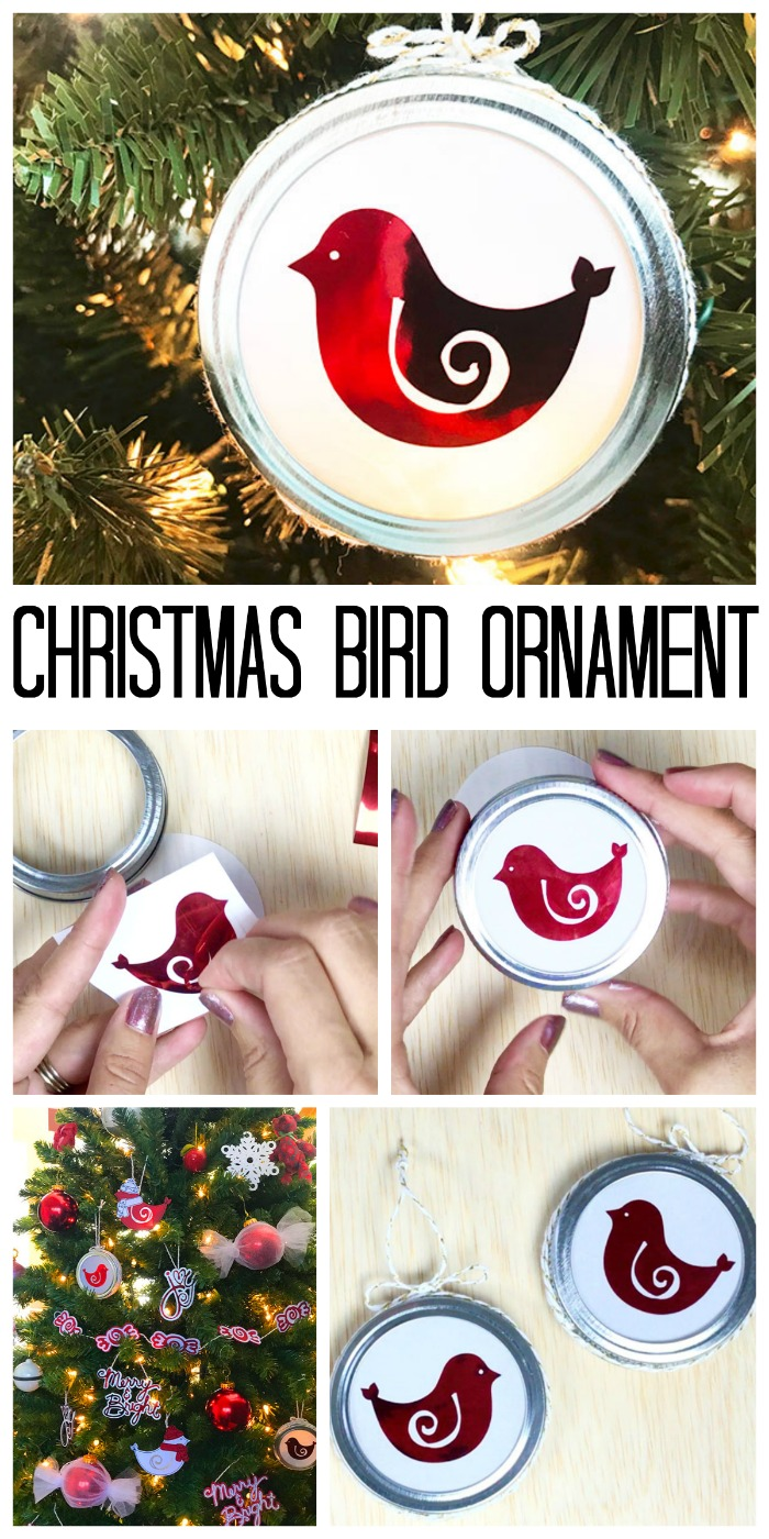 Make these Christmas bird ornaments in minutes using vinyl and your Cricut machine! Cut file is included as well!