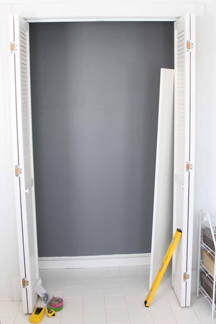 measurement and install of closet system into a small closet