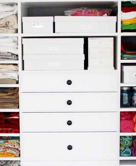 craft supplies added to a custom closet organizer