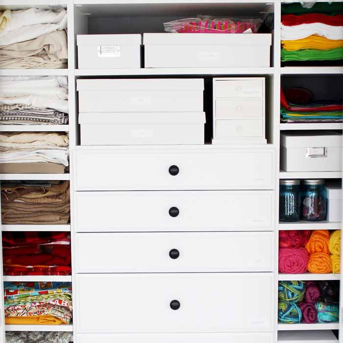 craft supplies added to a custom closet organizer