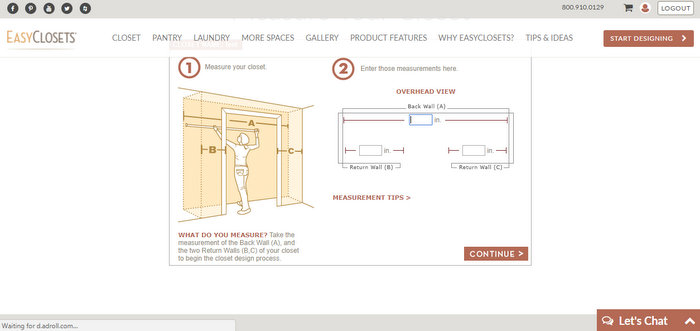 diagram of how to measure a closet when buying an organizer