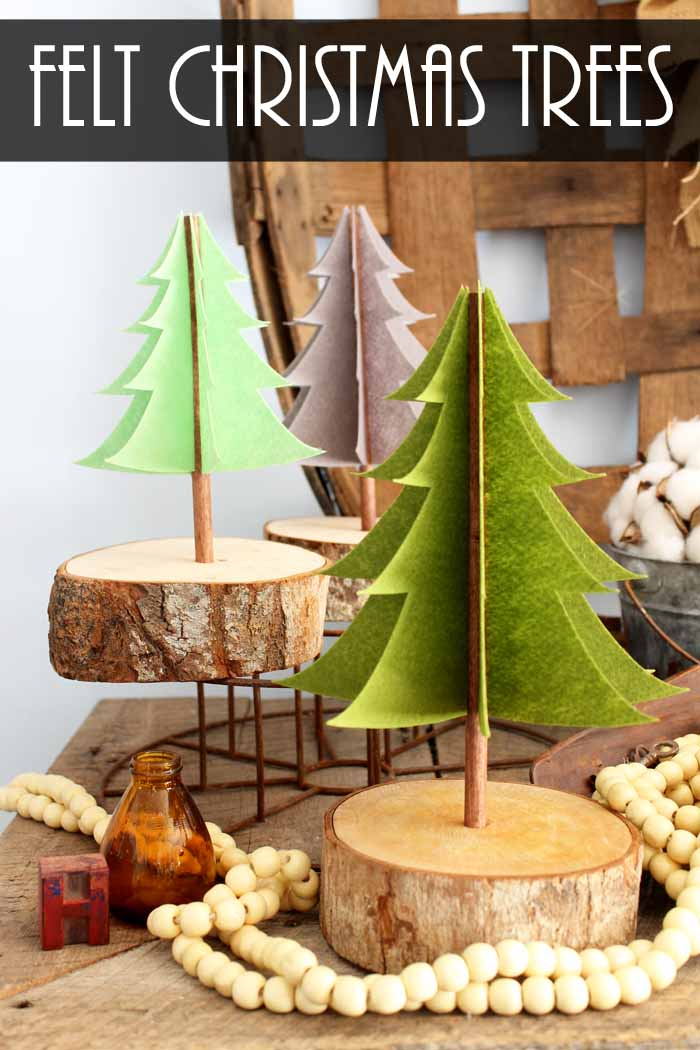 Make your own felt Christmas decorations! These easy felt trees are perfect for the holiday or even all winter long!