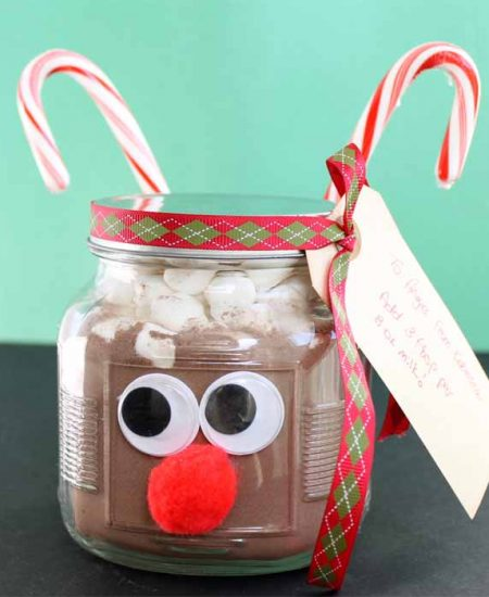 hot chocolate in a jar that looks like a reindeer